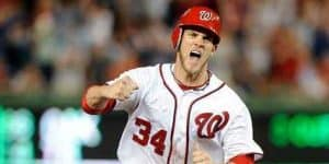WASHINGTON, DC - MAY 04:  Bryce Harper #34 of the Washington Nationals celebrates after a 4-3 victory against the Philadelphia Phillies at Nationals Park on May 4, 2012 in Washington, DC.  (Photo by G Fiume) *** Local Caption *** Bryce Harper